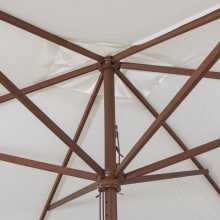 SUN 3 - Ombrellone professionale 3x3 con palo centrale in legno per bar, giardino, mare, spiaggia