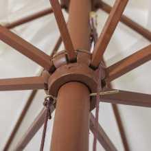 SUN 4 - Ombrellone professionale 3x4 con palo centrale in legno per bar, giardino, mare, spiaggia con palo centrale in legno