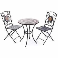 Set Mosaico - Tavolino e 2 sedie in metallo verniciato con motivo a mosaico da esterno giardino