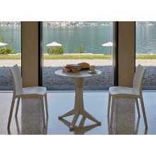 Levante - Tavolo tondo 70cm singolo in polipropilene gamba centrale bar ristorante hotel