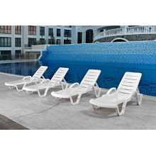 Lara Sun con braccioli - Lettino singolo impilabile prendisole in resina 4 posizioni giardino spiaggia piscina