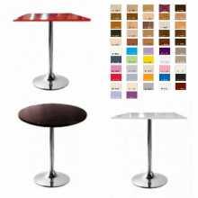 SATURNO R-Tavolo base rotonda, gamba centrale top legno bar, ristorante