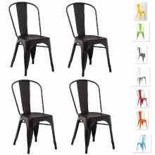 Pack 4 sedie METAL simil Tolix set sedia stile industriale bar, ristorante, albergo