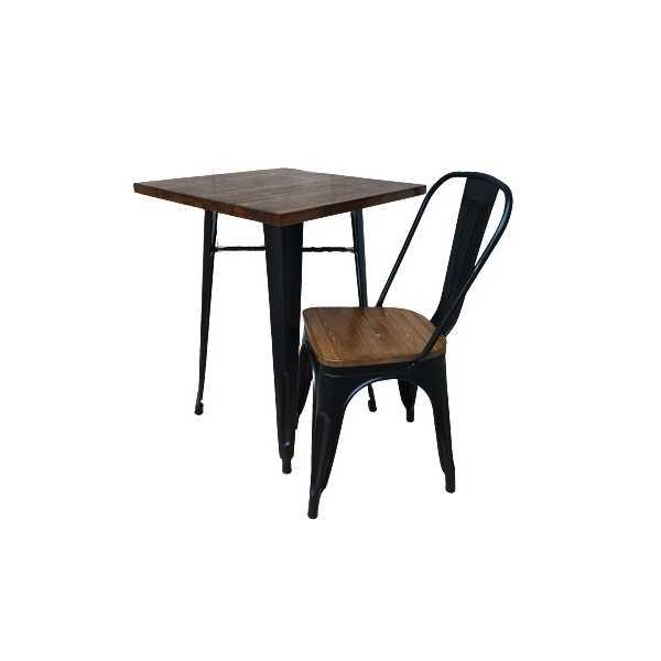 Metal Wood Tavolo Stile Industriale Simil Tolix Colore Nero Opaco Top In Legno Per Casa Bar Ristorante Catering Albergo Mondoarreda Com