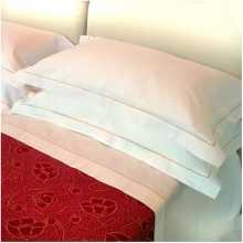 DOLCE VITA - Lenzuola rigatino con cordonetto puro cotone letto una piazza, due piazze per hotel, albergo, b&b, pensioni